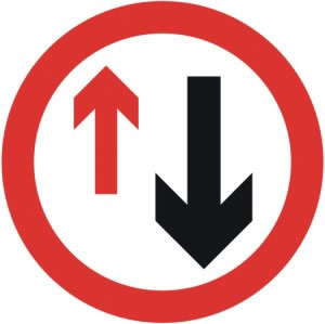 Road sign, Give way to oncoming treffic Compulsory