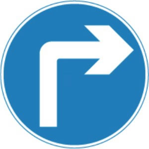 Road sign, turn right Compulsory